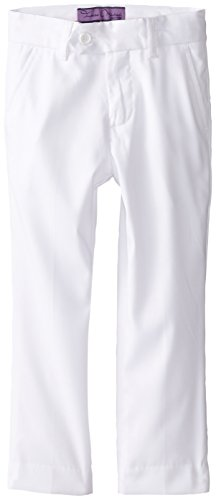 Isaac Michael Little Boys' Solid Dress Pants, White, 7 -