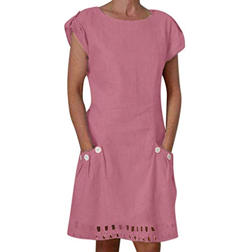 Aunimeifly Cotton Linen Women Casual Solid Wrinkled O-Neck Short Sleeves Button-Decor Loose Soft Dresses with Pockets Pink