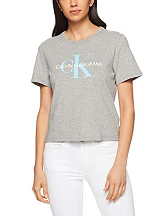 Calvin Klein Women's Cropped Logo Tee, Mica Heather(Grey), X-Small