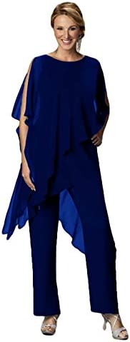 CY Women's 2 Pieces Chiffon Pant Suit for Wedding Guest Mother of The Bride Pant