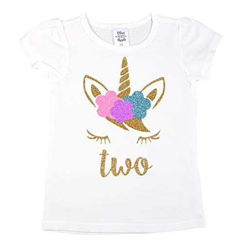 Girls 2nd Birthday Shirt Unicorn Face Two Shirt Short Sleeve Puff Sleeves with Glitter Gold