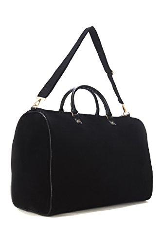 Limited Time Sale - Womens Black Velvet Weekender Bag, Duffle Bag, Overnight Bag, Travel Bag, Luggage, Large Tote Bag, Fashion Bag, Durable Bag, Best Handbag for Women (Classic Black) - MSRP $99