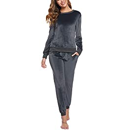Abollria Women's Velour Sweatsuit Set 2 Piece Outfits Long Sleeve Pullover Sport Suits Tracksuits