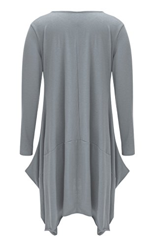 Rond Longue de Robe Femme Gris Cocktail Casual Bigood Robes Automne Col Coton Soire Manche Pull BqYwf8wv