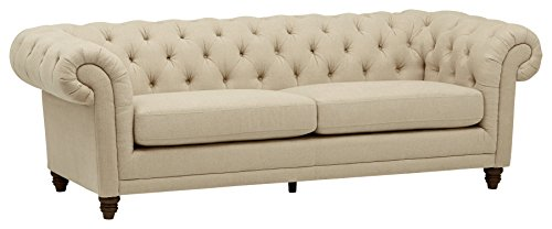 "Stone & Beam Bradbury Chesterfield Tufted Sofa, 93""W, Hemp"
