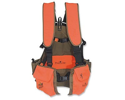 Browning Bird'n Lite Strap Vest, Khaki/Blaze, Medium/Large (Best Upland Hunting Strap Vest)