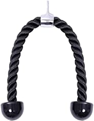 Heavy Duty Nylon Tricep Rope Pull Down Cable Gym for Body Building, 27-inch Rope Length with Stainless Steel S