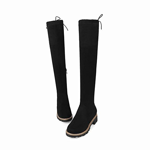 Knee Chic Mid High Black Shoes Heel Zip Women's Block Mee Boots g67qSnC