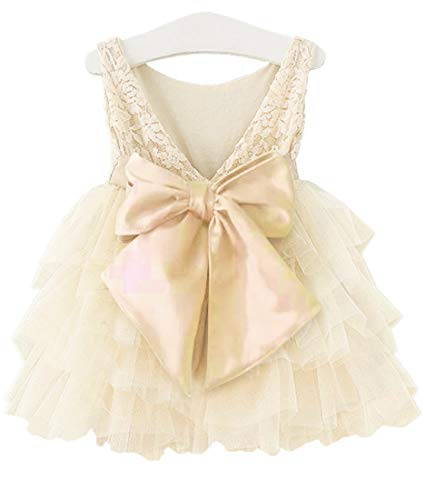 APRIL GIRL Flower Girl Dress, Lace Dress 3/4 Sleeve Dress (Ivory Tutu, 12-18 Months)