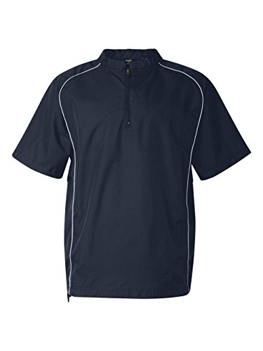 Rawlings Adult Quarter-Zip Short Sleeve Dobby Jacket With Piping (Navy) (L) by Rawlings