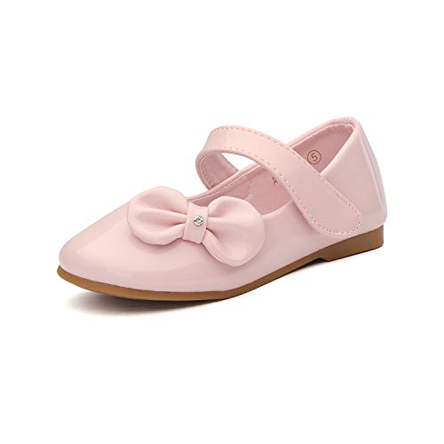 DREAM PAIRS Angel-5 Adorable Mary Jane Side Bow Buckle Strap Ballerina Flat (Toddler/Little Girl) New Pink PAT Size 9