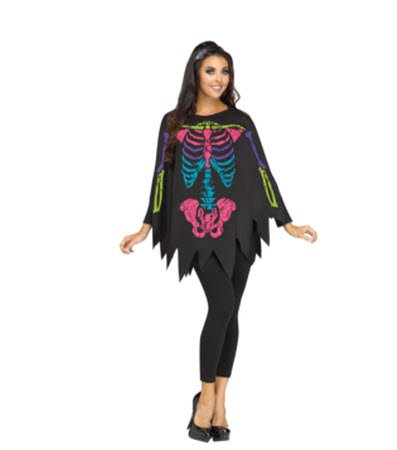[Day of the Dead Women Poncho Costume] (Womens Day Of The Dead Costume)