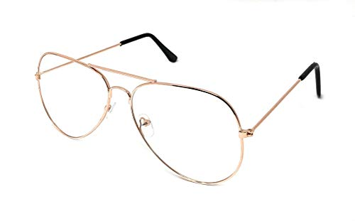 (WebDeals - Clear Lens Aviator Eyeglasses Classic Mirror Retro Metal Frame... (Rose Gold Large, Clear))