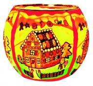 Kerzenfarm Gingerbread House 21827 Glowing Glass Tealight-Holder, Multi-Colour