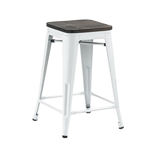 Buschman Set of Four White Wooden Seat 24 Inches Counter High Tolix-Style Metal Bar Stools, Indoor/Outdoor, Stackable