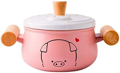 小型豚ダブルイヤーキャセロールクッカーセラミックキャセロール家庭用ガス耐火スープ石鍋かわいい漫画セラミックキャセロール-ピンク (Size : 1200ML)