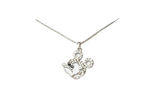 Faship Gorgeous Clear Crystal Mickey Mouse Necklace Pendant