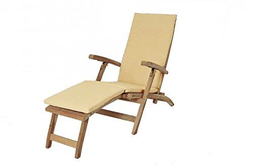 XXS® Outdoor Gartenliege Puccon Holz | Gartenmöbel, Terassenmöbel, Balkonmöbel | Sonnenliege | Klappsessel aus Teakholz