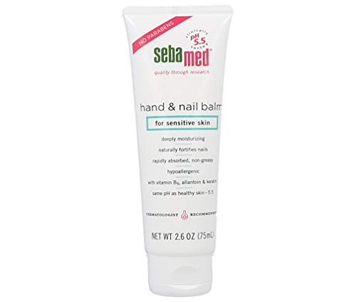 Sebamed Hand and Nail Balm pH 5.5 for Sensitive Skin Hypoallergenic Non-greasy Dermatologist Recommended Moisturizer 2.6 Fluid Ounces (75mL)