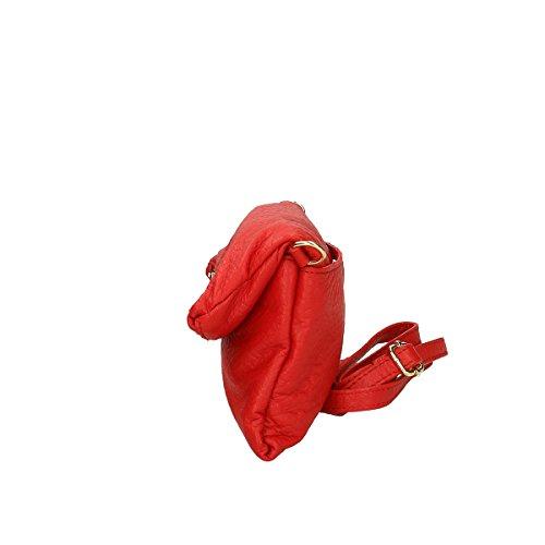 Chicca Borse Piel genuina bandolera 26x14.5x4 Cm Rojo