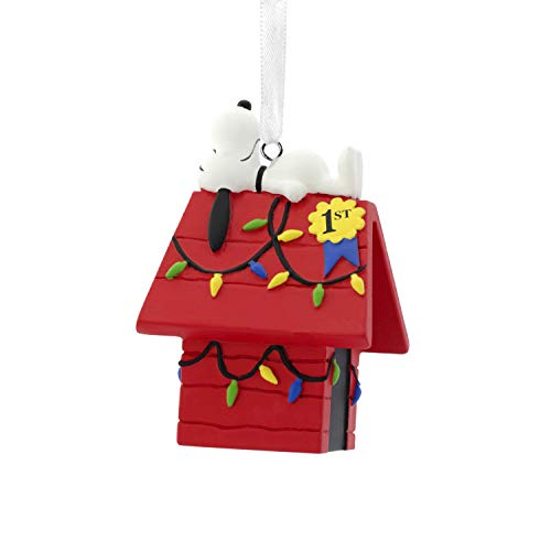 Hallmark Christmas Ornaments, Peanuts Snoopy on Decorated Dog House Ornament (Christmas Snoopy Decorations)