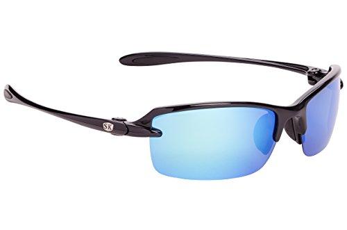 Strike King Plus Sabine Polarized Sunglasses, Shiny Black Frame/White/Blue Mirror Gray Base - Sunglasses Strike Polarized King