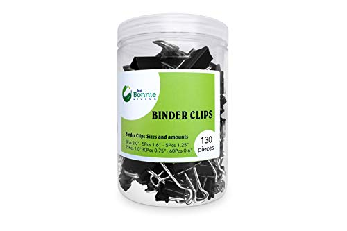 Just Bonnie Living - 130 Binder Clips Assorted Sizes Variety Pack - with Mini, Small, Medium, Large, XL and Jumbo Metal Foldback Clips - Paper Clamps - Durable and Made to Last