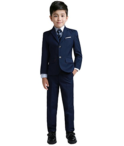 YuanLu Boys Colorful Formal Suits 5 Piece Slim Fit Dresswear Suit Set (Navy Blue, 12)