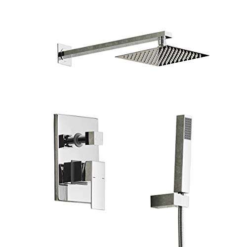 - Aquafaucet Chrome Bathroom Luxury Rain Mixer Shower Combo Set Wall Mounted Rainfall Shower Head System (Contain Shower faucet rough-in valve body and trim)