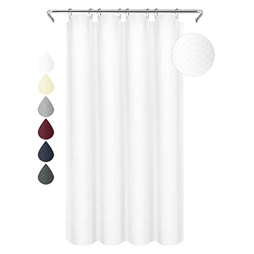 Eforgift Water Repellent Polyester Bathroom Curtain Easy Care Curtain for Shower White Waffle Weave Plaid,Metal Grommets and Hangers, 54-inch by 78-inch