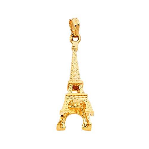 14K Yellow Gold Paris Eiffel Tower - Tower Diamond Gold Eiffel