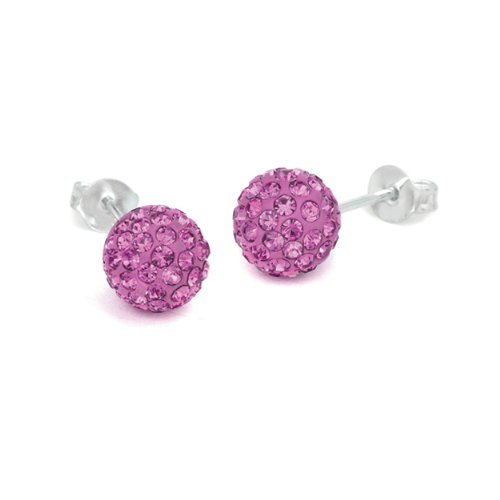 Surgical Stainless Steel Studs Earrings Cubic Zirconia Earrings Ball Stud Pave Ball, Pink Rose Crystal Earrings Ball - 6MM Ball