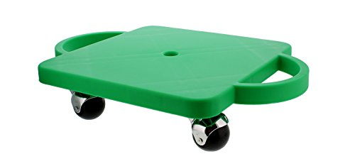 Get Out! Plastic Scooter Board in Green, Wide Handles, 12