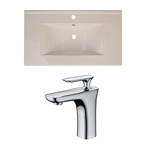 "60%OFF Jade Bath JB-15640 36"" W x 20"" D Ceramic Top Set with Single Hole CUPC Faucet, Biscuit"