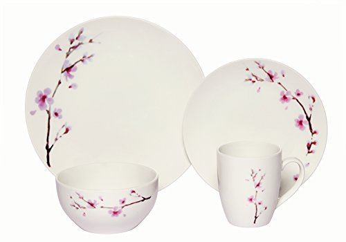 Coupe Soup Salad Bowl - Melange Coupe 16-Piece Porcelain Dinnerware Set (Pink Zen) | Service for 4 | Microwave, Dishwasher & Oven Safe | Dinner Plate, Salad Plate, Soup Bowl & Mug (4 Each)
