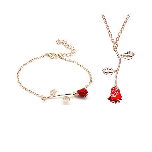 MUZHE Charm 3D Red Rose Flower Pendant Necklace, Romantic Rose Flower Necklace for Women, Personalized Red Rose Statement Necklace for Girls, Gardeners Necklace (M:Necklace+Bracelet(Rose Gold))