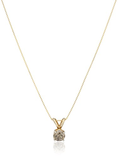 Champagne Diamond Solitaire Pendant Necklace (1/2cttw, I2-I3 Clarity), 18