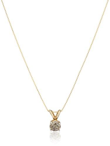 ", 18""14k Yellow Gold Champagne Diamond Solitaire Pendant ..."