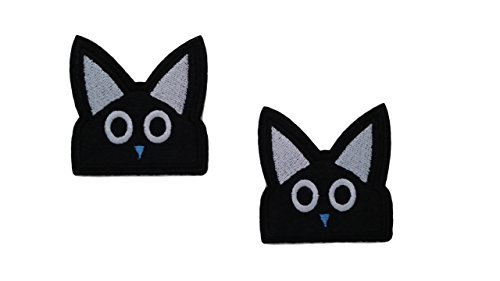 2 pieces BLACK CAT Iron On Patch Applique Motif Fabric Children Cartoon Decal 2.2 x 2.2 inches (5.5 x 5.5 cm)