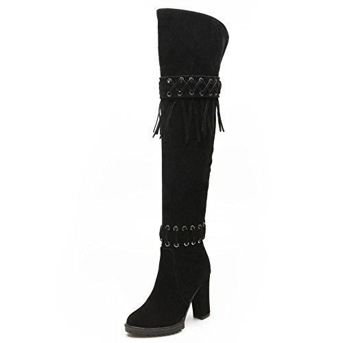 COOLCEPT Women Casual Classic High Heels Fringed Over Knee Long High Boots Black