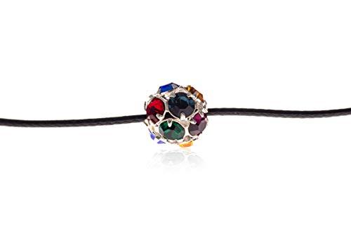 Yana Malanii Simple Black Choker Necklace with Rhinestone Pendant (Multicolor)