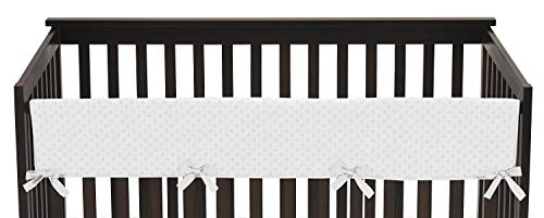 Sweet Jojo Designs Solid White Minky Dot Long Front Rail Guard Boys or Girls Baby Teething Cover Crib Protector Wrap ()