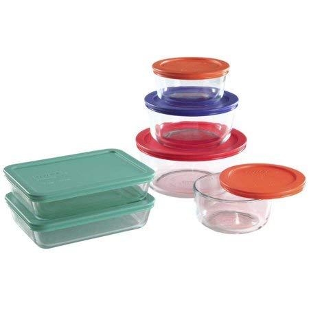 Pyrex 12-piece Storage Plus Food Storage Set, Green, Orange, Blue, Red, Glass Bakeware Food Storage