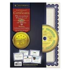 (Southworth Foil-Enhanced Certificates W/Cd, 8-1/2 X 11, Silver Border, 15/Pack)