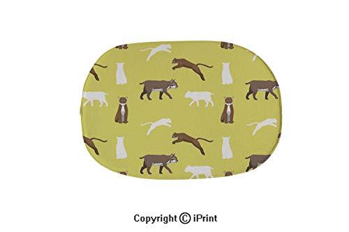 Oval Bath Mat Non-Slip Carpets Bathroom Doormats Floor Rugs Kitchen Mats,Cougar Bobcat Wallpaper,15.7