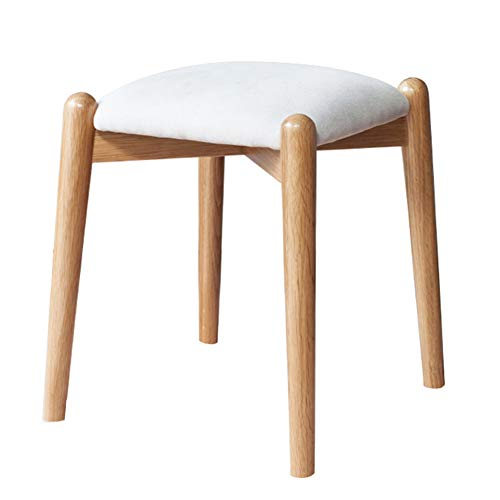 Makeup Stool Home Solid Wood Square Stool Fabric Cushion Footstool Stool WEIYV (Color : Woodcolor-White, Size : 35.535.538.5cm) ()