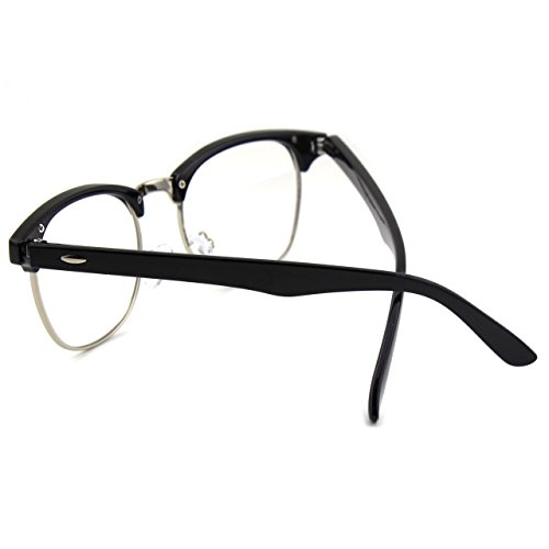 Glossy PF6 Inspiré GQUEEN Vintage Half Black lunettes Frame Clear x0gCnYUP