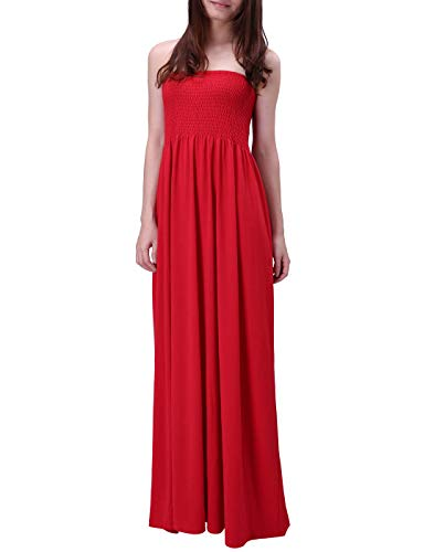 HDE Women's Strapless Maxi Dress Plus Size Tube Top Long Skirt Sundress Cover Up (Red, Large)