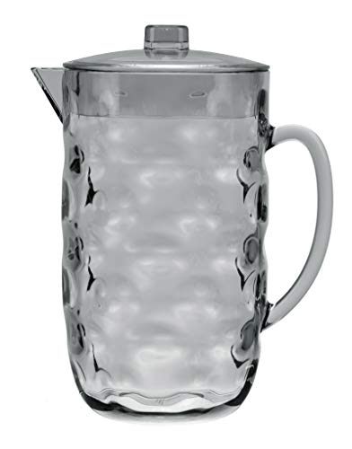 QG Clear Light Grey BPA Free Acrylic Plastic Pitcher with Lid - Great for Iced Tea, Juice & Water 0.63 Gallon / 80 fl oz. / 2.5 Quart