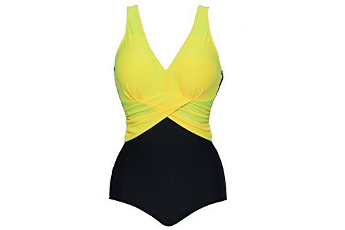 Urban Virgin Women's Strappy One Piece Swimsuits PinUp Plus Size V-neck Bikini Yellow XXXXL:US14-16